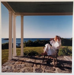 Woman in Bathrobe Large Format Flower Photo 24X20 Color Photograph Beach House
