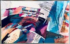 Fiber Art Collage Israeli Modernist Vibrant Colorful Tapestry Wall Hanging Rug