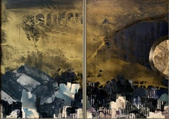 Kibbutz Artist, 1971 Abstract Jerusalem Oil Painting Judaica Diptych Collage