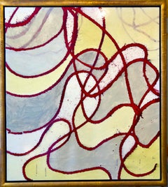 Large Abstract Mixed Media Lacquer Painting Stealthy Glow Scientific Abstraction