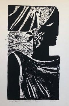 La Dame Noir (the Black Woman) African American Artist Viola Leak Woodcut Print