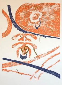 Motif, Gold Abstract African American Artist Viola Leak Woodcut Silkscreen Print