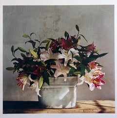 Basket of Lilies, Large Format Flowers Photo 24X20 Color Photograph Beach House