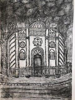 Bucharest Romania Jewish Memorial Etching Destroyed Synagogue Folk Art Judaica