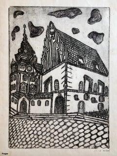 Alt Neu Shul Prague Jewish Memorial Etching Destroyed Synagogue Folk Art Judaica