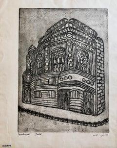 Heidelberg Germany Jewish Memorial Etching Destroyed Synagogue Folk Art Judaica
