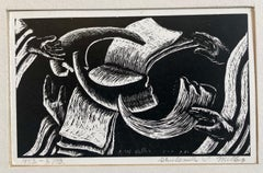 Shana Tova, New Year Woodcut Israeli Judaica Early Bezalel School Woman Artist