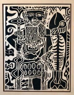 Ancient Fisherman, Mid Century Modernist Woodblock Print Signed Modern Woodcut