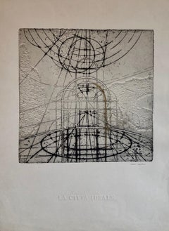 Italian Futurist Etching La Citta Ideale Architectural Embossed Art Print w Gold