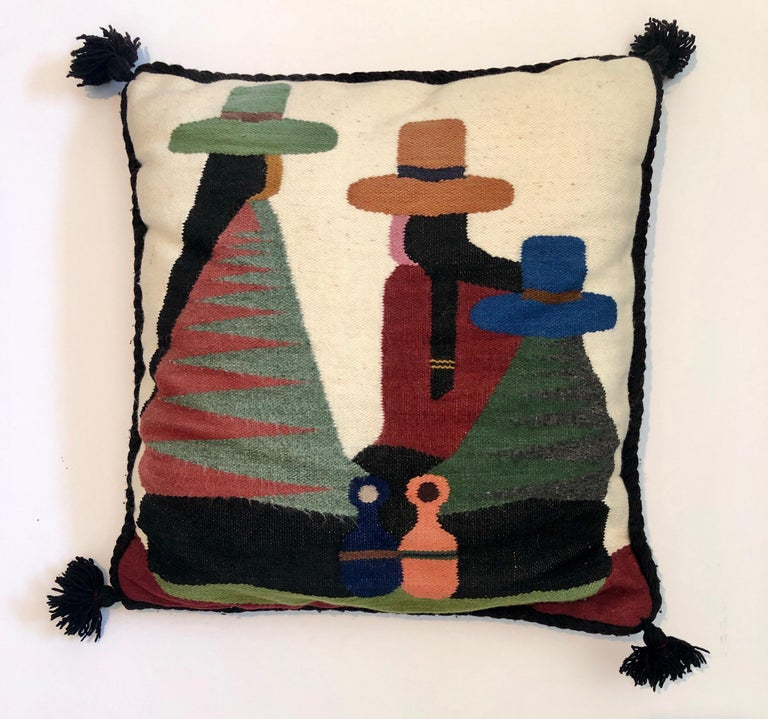 Vintage Handwoven Tapestry Wool Folk Art Rug Weaving Pillow or Wall Hanging  For Sale 1