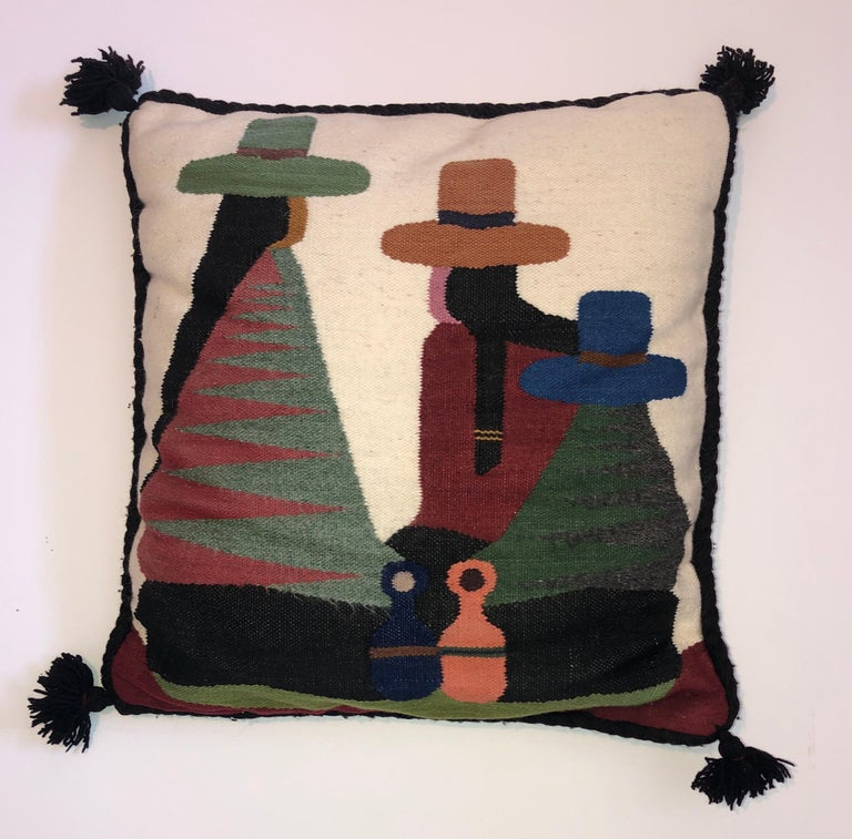 Vintage Handwoven Tapestry Wool Folk Art Rug Weaving Pillow or Wall Hanging  For Sale 3
