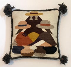 Vintage Handwoven Tapestry Wool Folk Art Rug Weaving Pillow or Wall Hanging