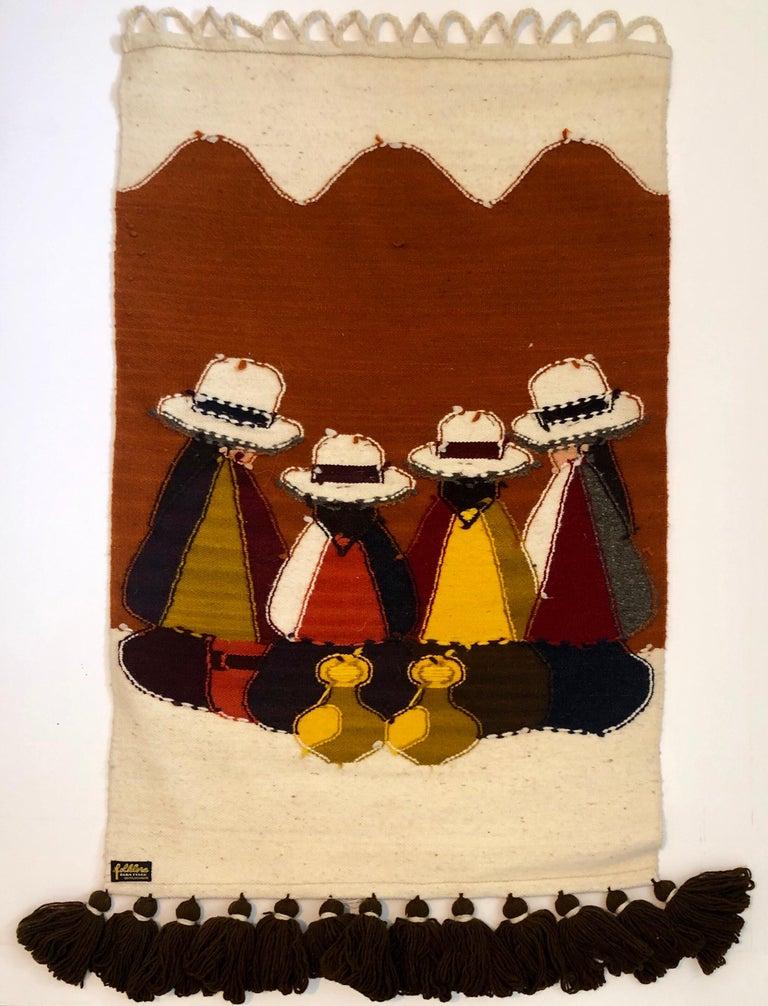 Vintage Handwoven Tapestry Wool, Metal Folk Art Rug Weaving Wall Hanging  For Sale 1