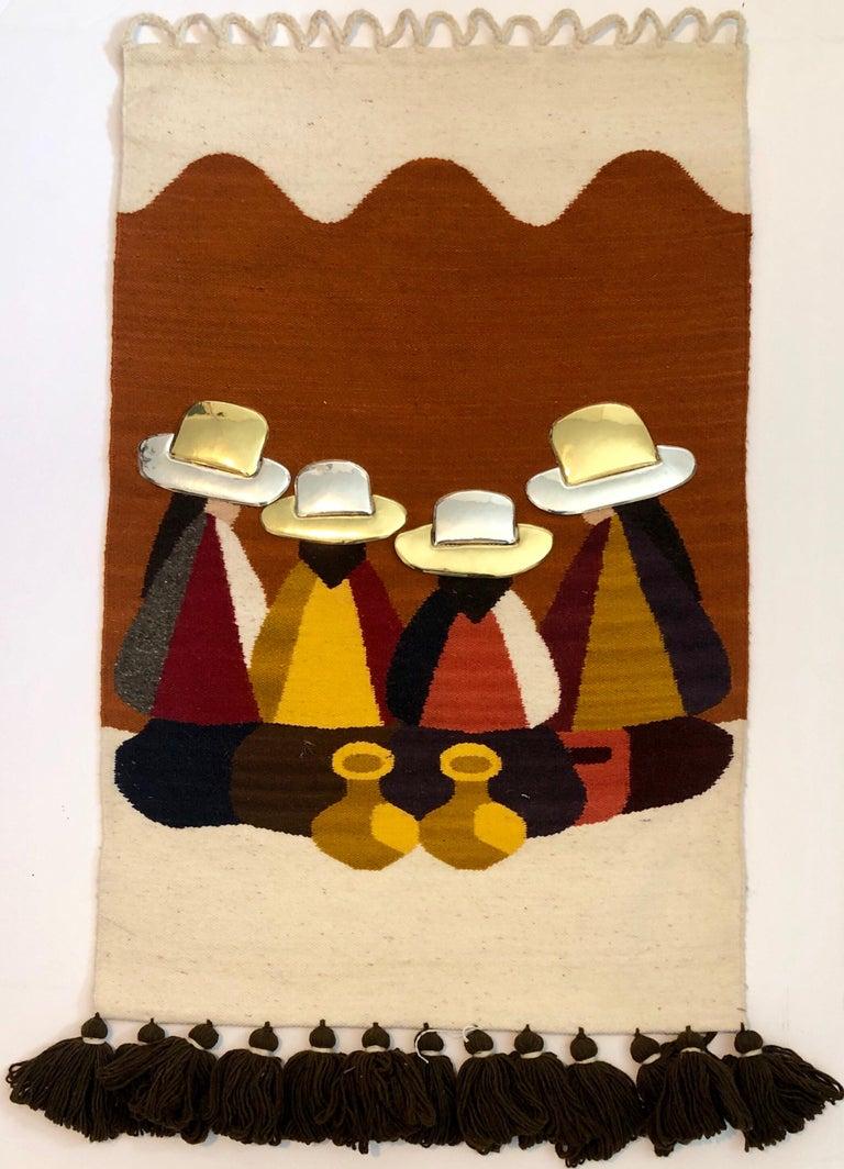Olga Fisch Figurative Sculpture - Vintage Handwoven Tapestry Wool, Metal Folk Art Rug Weaving Wall Hanging