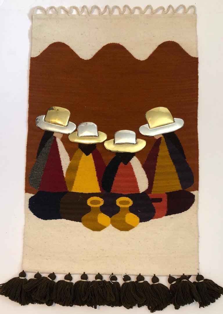 Vintage Handwoven Tapestry Wool, Metal Folk Art Rug Weaving Wall Hanging  - Sculpture by Olga Fisch