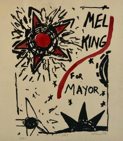 Abstract Expressionist Watercolor Painting Woodblock Political Poster Mel King