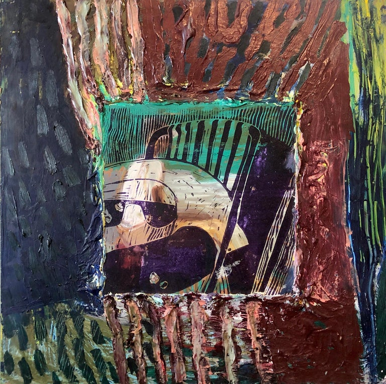 Her Grandson, Mixed Media Painting Collage Wall Construction FIgural Abstraction For Sale 3