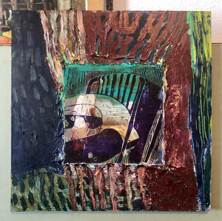 Her Grandson, Mixed Media Painting Collage Wall Construction FIgural Abstraction For Sale 9