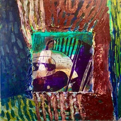 Her Grandson, Mixed Media Painting Collage Wall Construction FIgural Abstraction