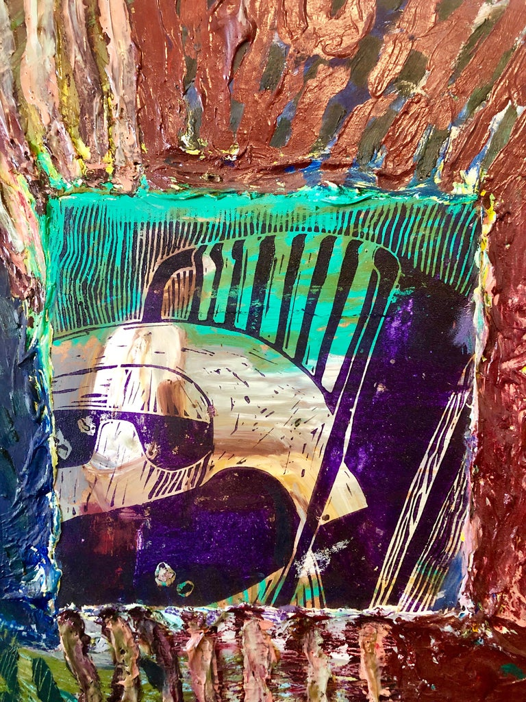 Her Grandson, Mixed Media Painting Collage Wall Construction FIgural Abstraction - Post-Modern Mixed Media Art by Francie Bishop Good