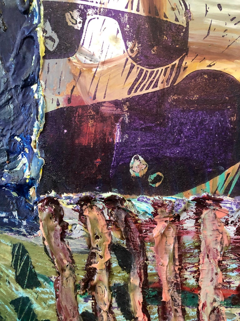 Her Grandson, Mixed Media Painting Collage Wall Construction FIgural Abstraction For Sale 2