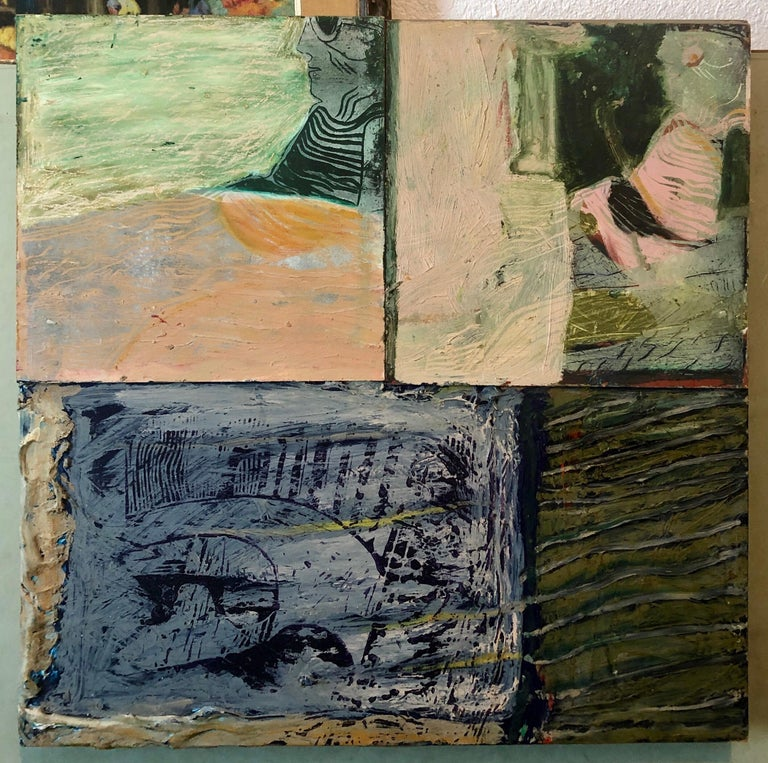 Shes Watching Mixed Media Painting Collage Wall Construction FIgural Abstraction For Sale 11