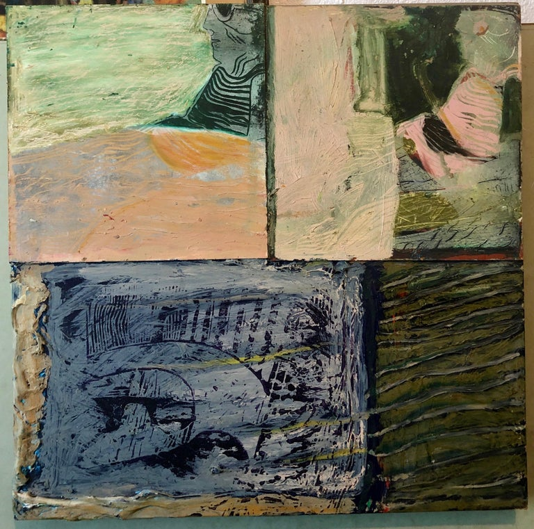 Shes Watching Mixed Media Painting Collage Wall Construction FIgural Abstraction For Sale 4