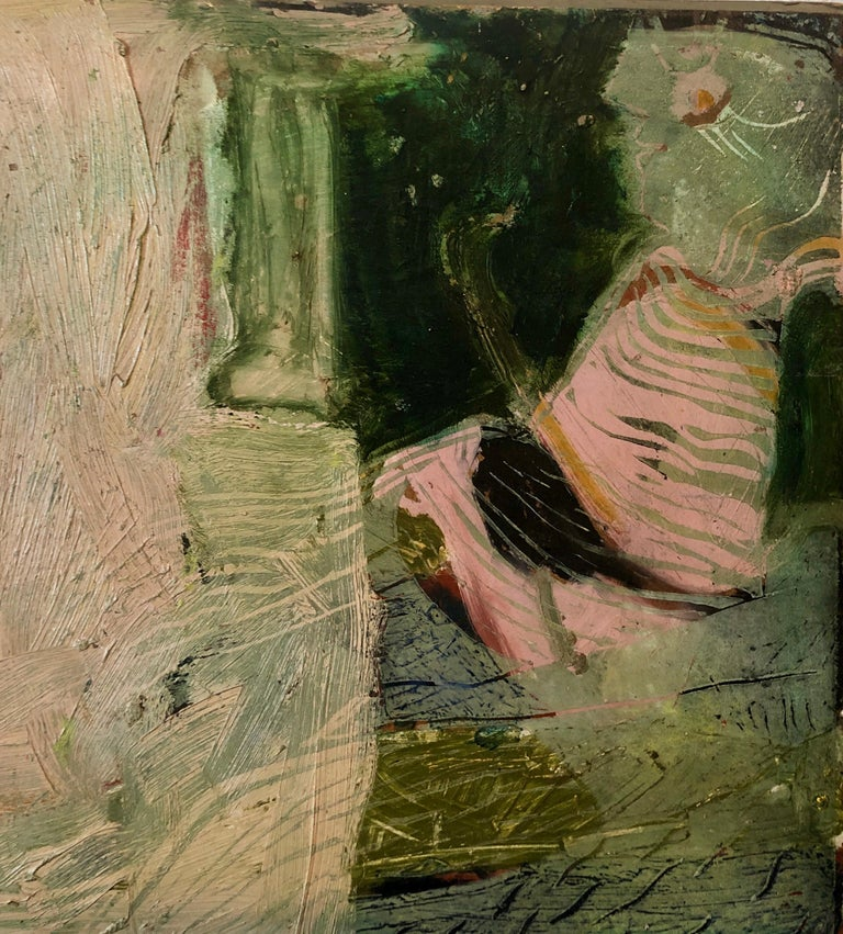 Shes Watching Mixed Media Painting Collage Wall Construction FIgural Abstraction For Sale 1