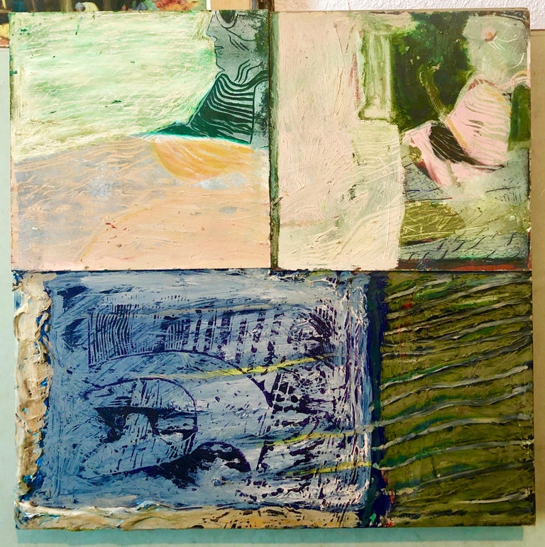 Francie Bishop Good Abstract Painting - Shes Watching Mixed Media Painting Collage Wall Construction FIgural Abstraction