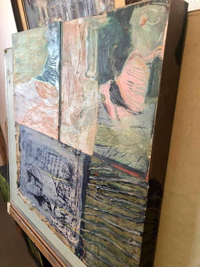 Shes Watching Mixed Media Painting Collage Wall Construction FIgural Abstraction For Sale 6