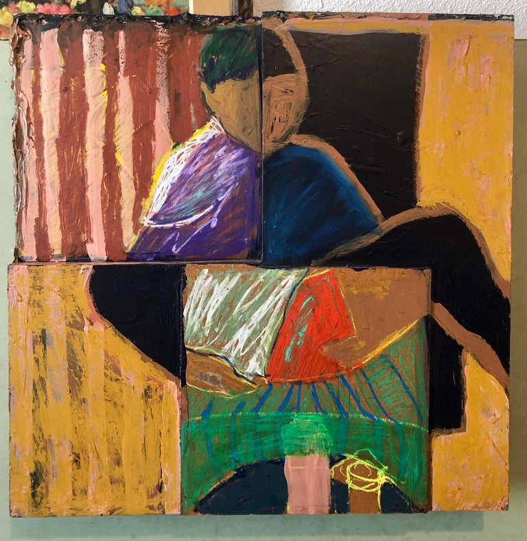 Shes Watching Mixed Media Painting Collage Wall Construction FIgural Abstraction For Sale 7