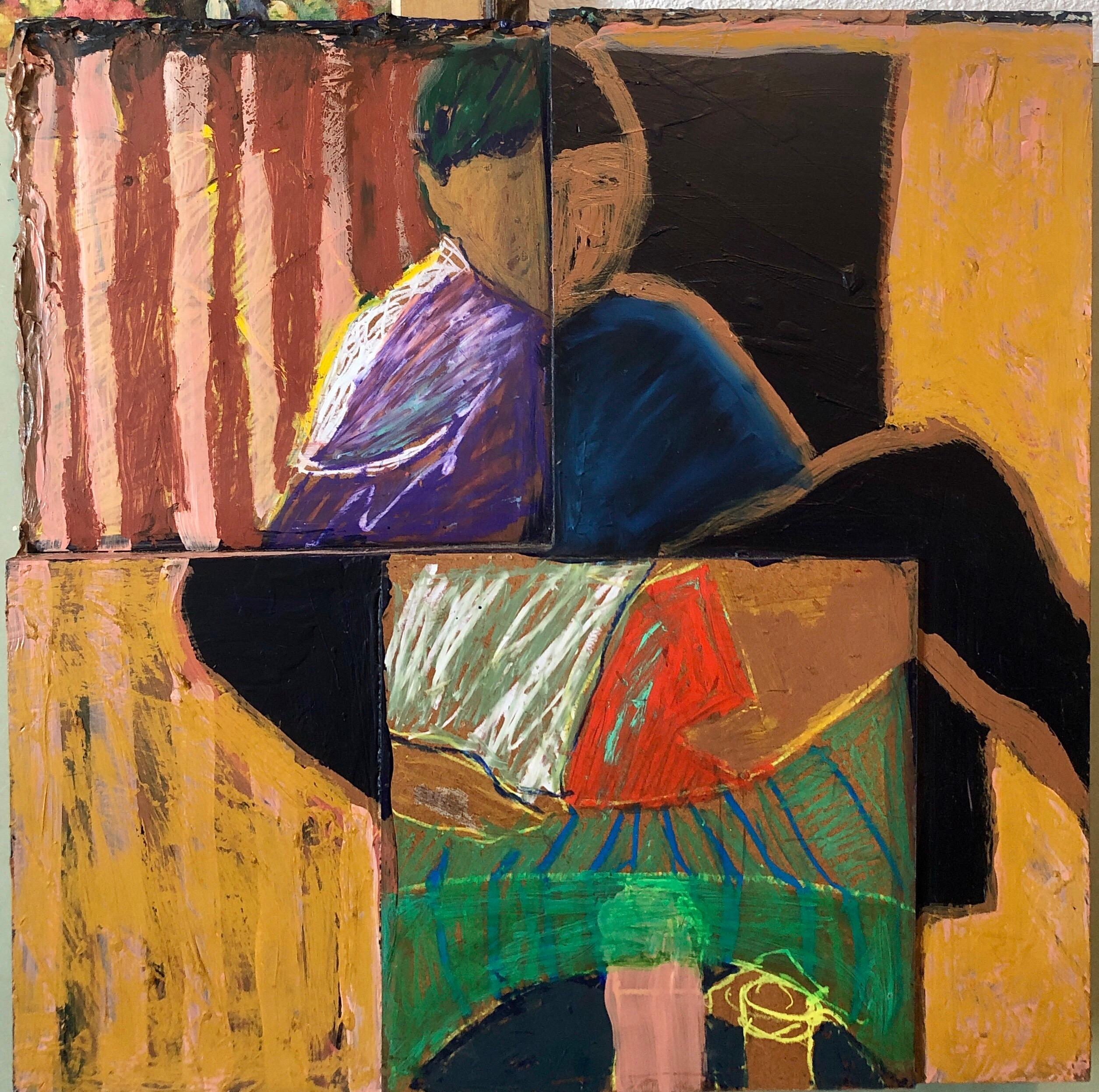 Shes Watching Mixed Media Painting Collage Wall Construction FIgural Abstraction