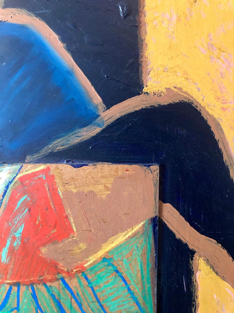 Shes Watching Mixed Media Painting Collage Wall Construction FIgural Abstraction For Sale 2