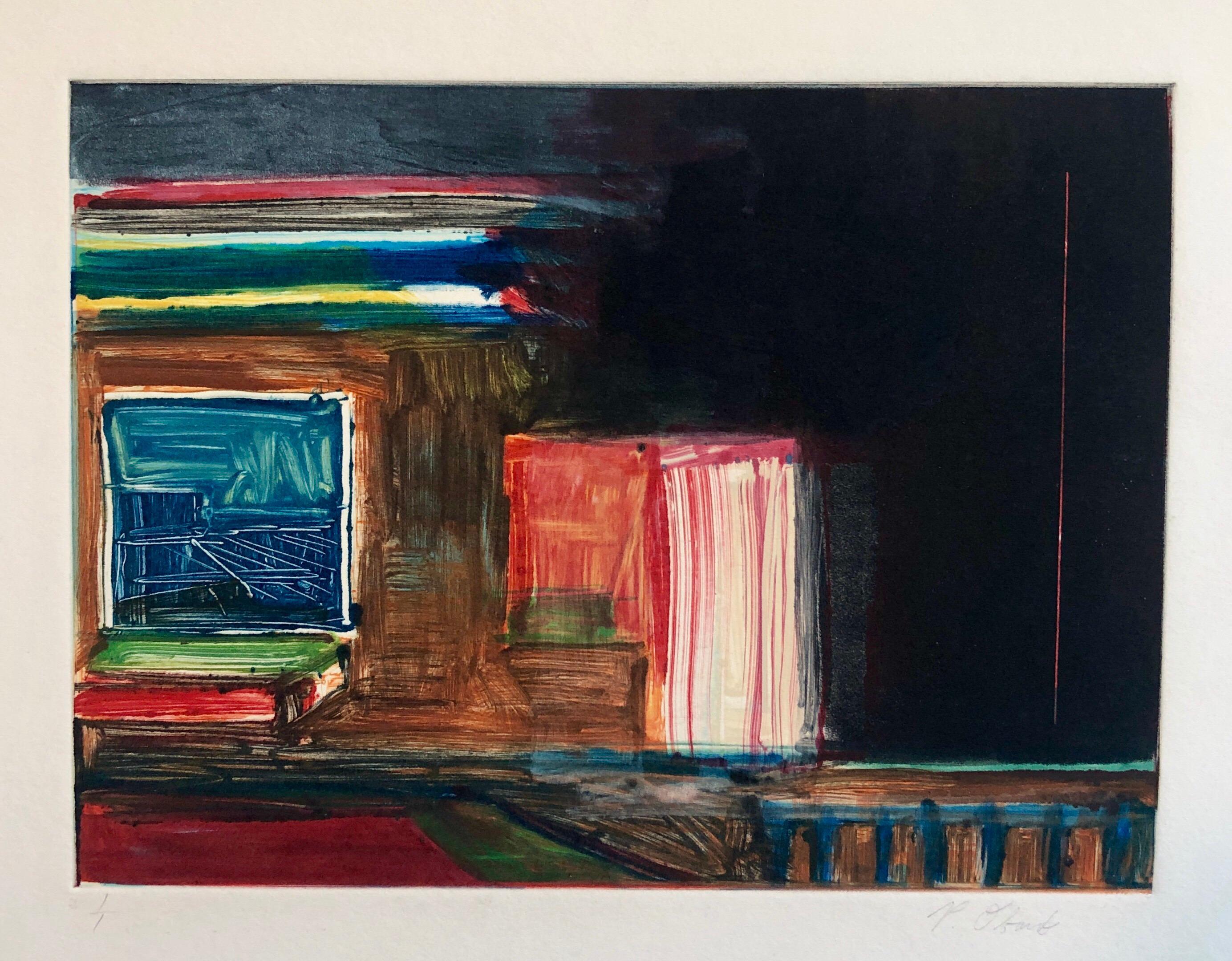 Abstract Pattern & Decoration Monoprint Monotype Painting Print Pierre Obando