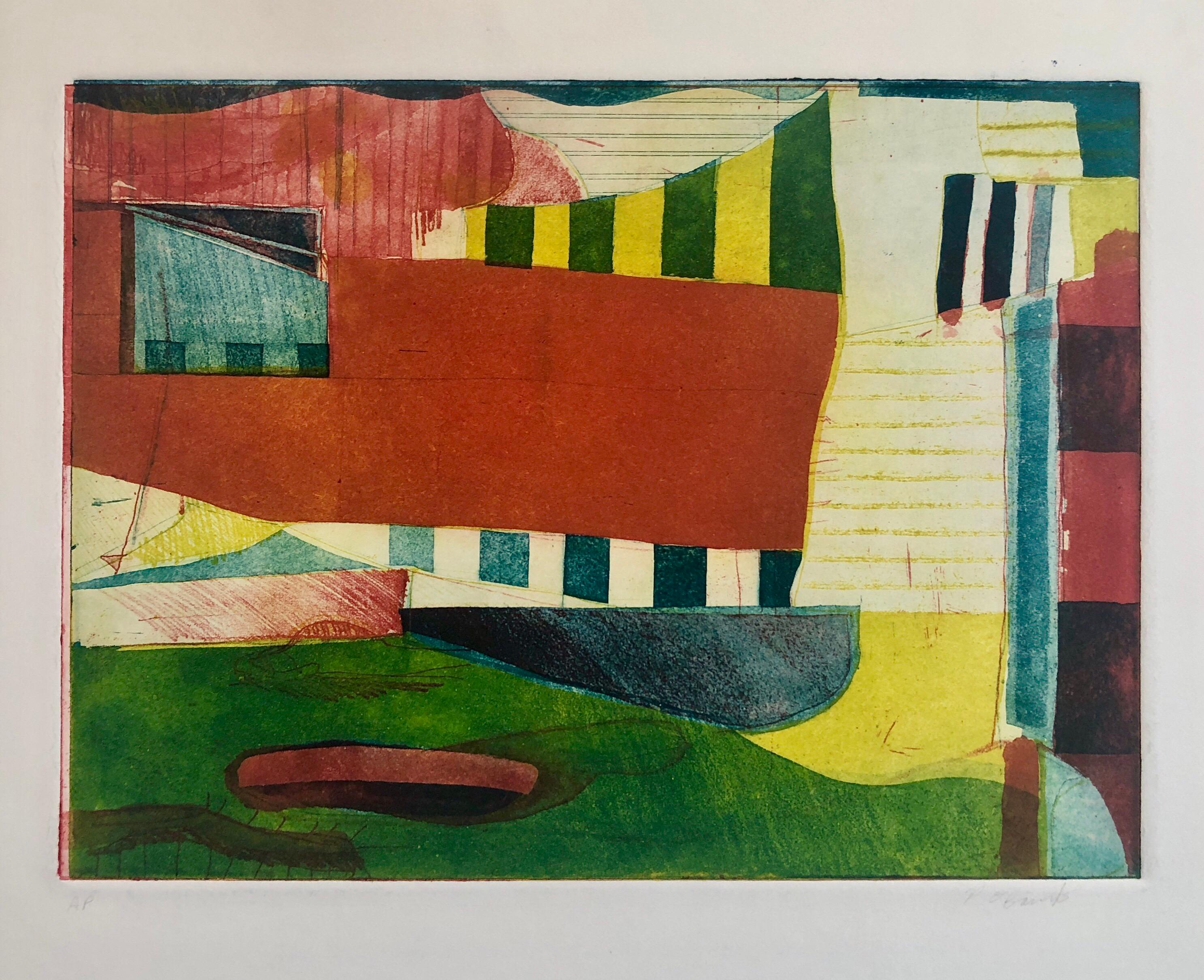 Abstract Modernist Colorful Bold Monoprint Monotype Painting Print Pierre Obando