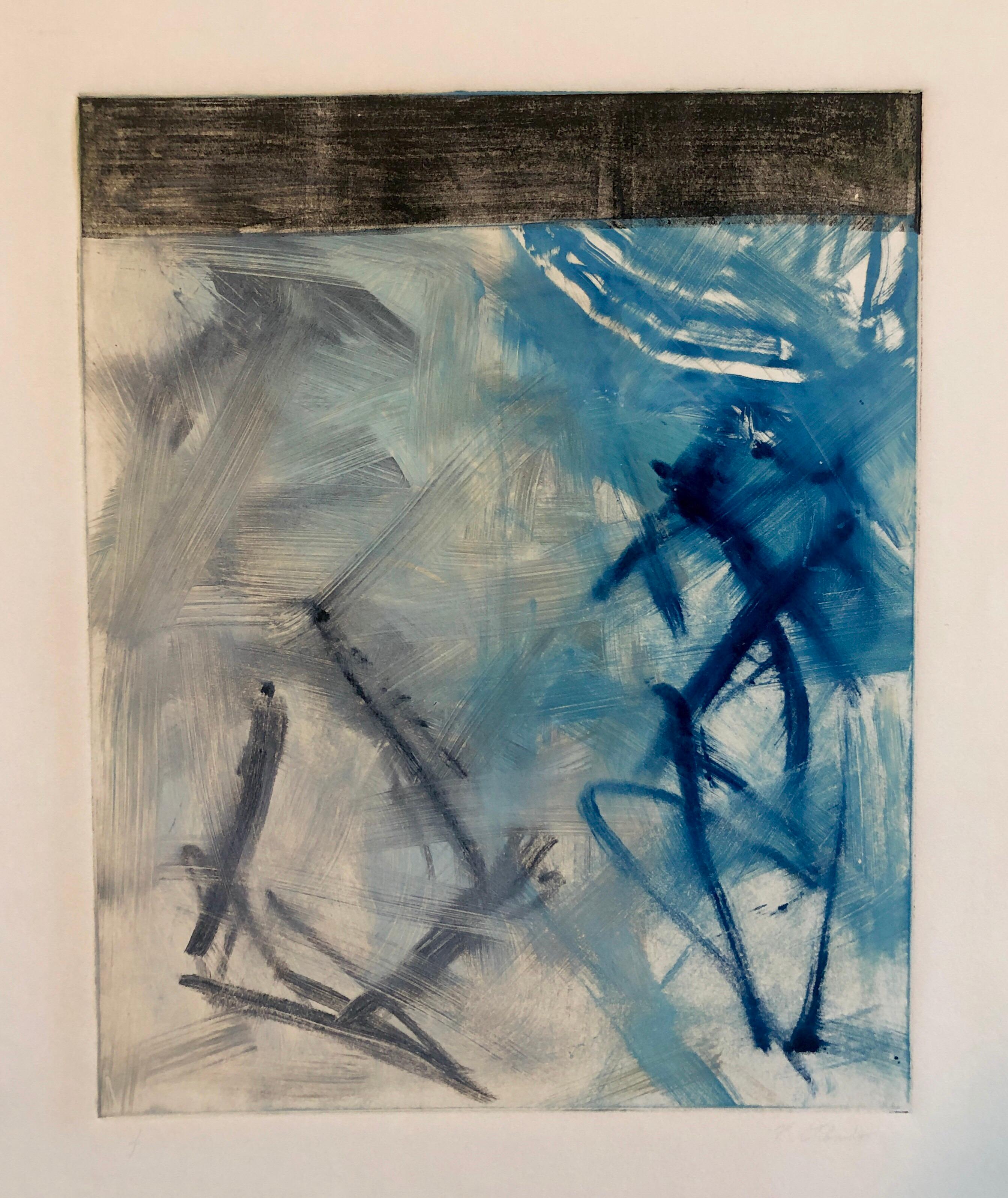 Abstract Expressionist Modernist Blue Grey Monoprint Monotype Painting Print