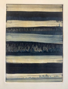 Abstract Expressionist Modernist Denim Blue Monoprint Monotype Painting Print