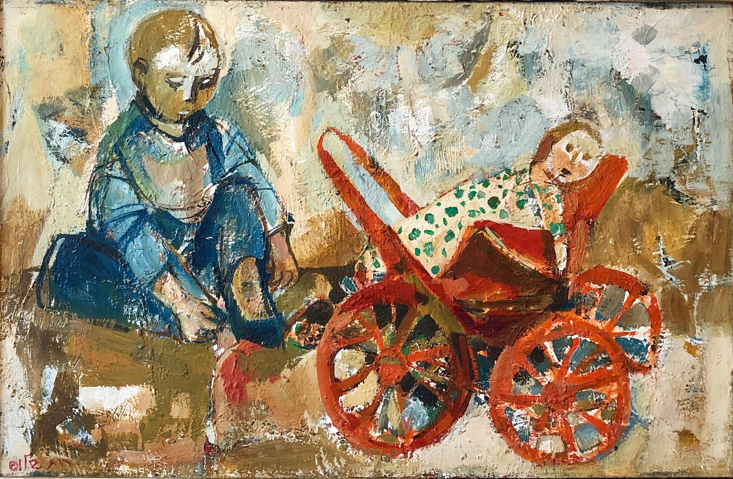 Israeli Oil Painting Ruth Schloss Child, Doll, Wagon, Kibbutz Social Realist Art