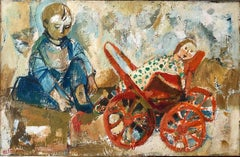 Israeli Oil Painting Ruth Schloss Child, Doll, Wagon, Kibbutz Social Realist Art