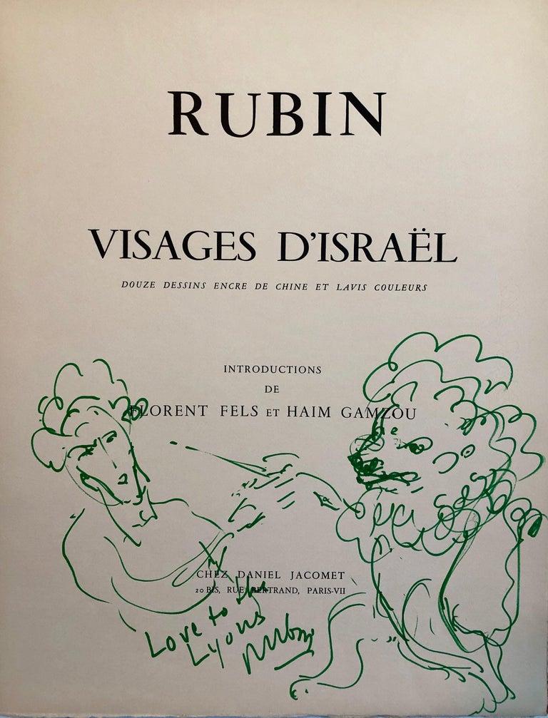 Original Drawing Reuven Rubin Self Portrait with Lion Modern Israeli Art 1960s - Gray Figurative Art by Reuven Rubin