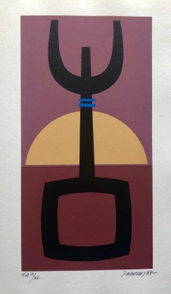Hungarian Surrealist Pop Art Hebrew Silkscreen Judaica Print Jewish Serigraph
