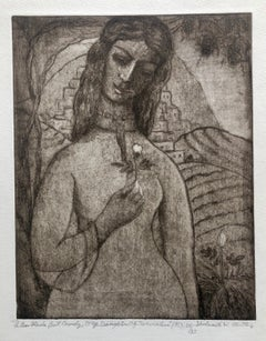"Modernist ""I Am Black But Comely"" Etching Israeli Judaica Bezalel School Woman"