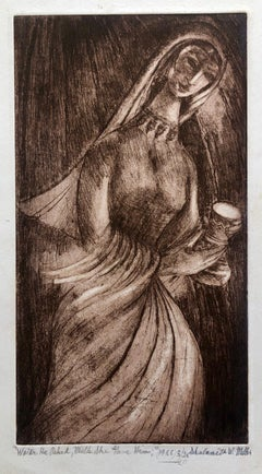 """Water He Asked Milk She Gave Him"" Etching Israeli Judaica Bezalel School Woman"