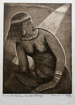 "Modernist Biblical ""Hagar"" Etching Israeli Judaica Bezalel School Woman"