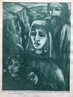 "Modernist ""Jethro"" Aquatint Etching Israeli Judaica Bezalel School Woman Artist"