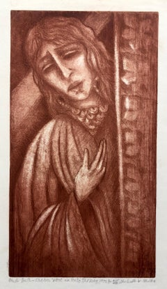 Modernist Bathsheba Aquatint Etching Israeli Judaica Bezalel School Woman Artist