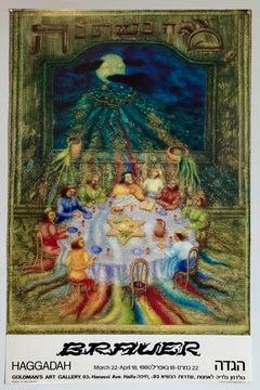Arik Brauer Passover Hebrew Vintage Poster, Judaica, Vienna Magic Realism