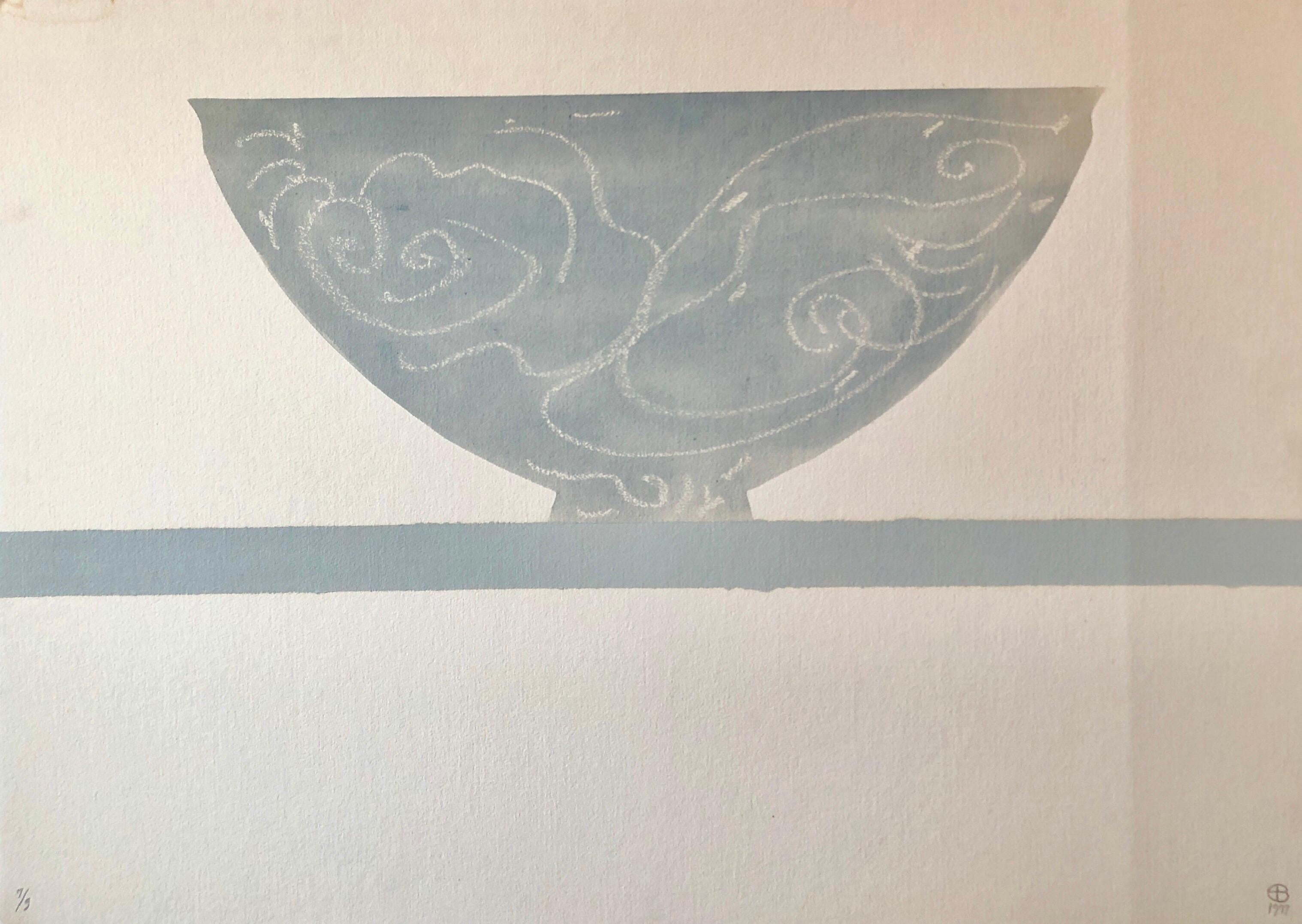 The Wave, Large Watercolor Painting, Still Life with Vase American Modernist