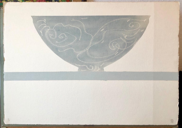 The Wave, Large Watercolor Painting, Still Life with Vase American Modernist - Art by Ed Baynard