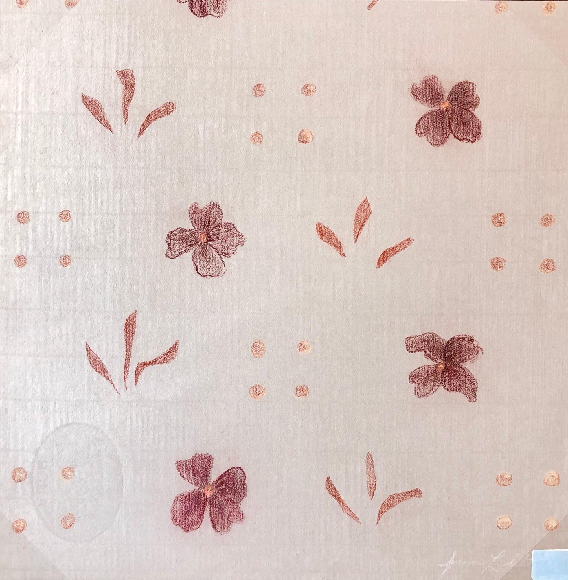 Original Pastel Drawing Flowers, Wallpaper Pattern and Decoration Pop Art